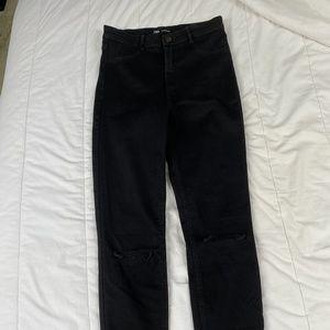 Zara High Waisted Black Skinny Jeans